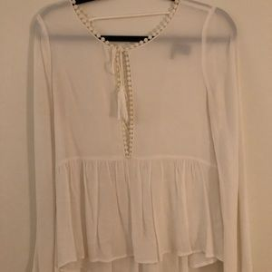 White Boho Top with Flowy Sleeves